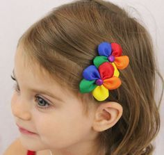 Rainbow Flowers Rainbow Hair Bow Two Flowers by SweetestBugBows, $7.00 @Summer Engelmann do you like these?