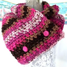 Handmade Crochet Scarf, Brown Pink Fuschia, Chocolate Cupcake, Raspberry, Shawl, Collar, Scarflet