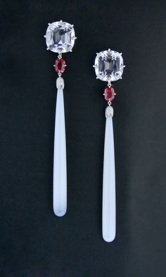 Rock Crystal, Chalcedony, Diamond, Spinel, Platinum and 18K Rose Gold Ear Pendants by James de Givenchy Taffin
