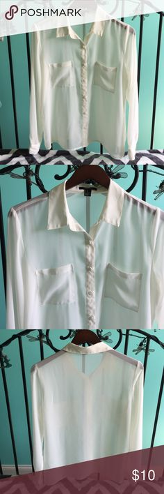 Forever 21 Sheer white button up top Sheer white/ cream button down top with two front pockets. Super light and airy, worn once. Great condition. Forever 21 Tops Button Down Shirts