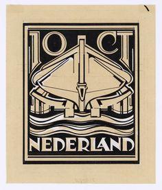 Ontwerp voor postzegels Nederland 1924 Nederlandsche Reddingmaatschappijen, Een op stelling gereedstaande reddingsboot