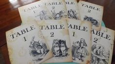 Alice In Wonderland Wedding table numbers event by Sweetturquoise on Etsy, $35.00