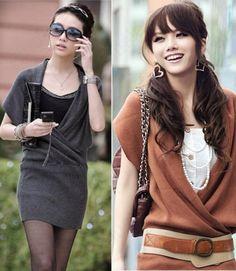 Discount China china wholesale Women Casual V-Neck Sweater Coat Long Sleeve Tunic Knit Mini Dress Tops Coats [31372] - US$19.36 : DealsChic