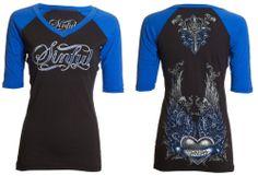 $54 Sinful AFFLICTION Filigree RHINESTONES Tattoo Biker UFC T-SHIRT TOP WOMEN XL #Fashion #Style #Deal