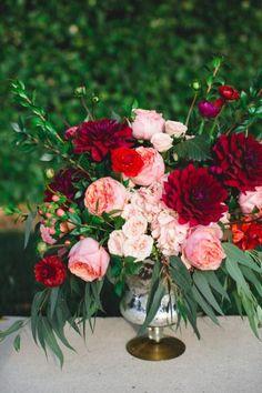 Pink and red wedding flowers: http://www.stylemepretty.com/georgia-weddings/savannah/2014/10/22/romantic-georgian-wedding-inspiration/   Photography: Izzy Hudgins - http://izzyhudginsblog.com/