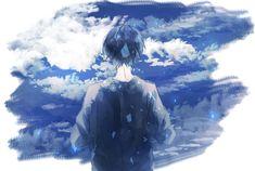 Sky Anime, Blue Anime, Dark Anime, Manga Anime, Anime Art, Cute Anime Boy, Anime Guys, Digital Art Anime, Boy Art