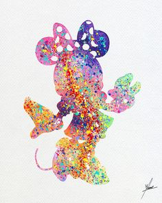 Disney Minnie Inspired Watercolor Print Wall by PainterlyDots