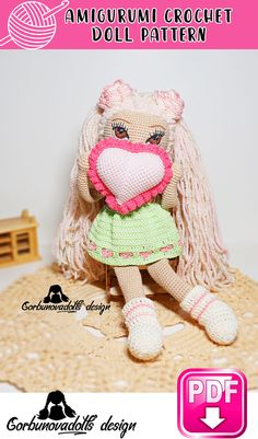 Easy-to-follow photo tutorial consisting of 39 pages in PDF. The eyes and heart pattern is also included. Crochet Doll Pattern, Amigurumi Doll Pattern, DIY Pattern, Crochet Toy, Handmade Doll, Crochet Pattern Doll, Doll Pattern, Amigurumi Doll, Doll Patterns, Doll Tutorial, Crafts, Crafty, Homemade Toy Idea, Crochet Tutorial Handmade Dolls Patterns, Diy Crochet Patterns, Diy Crochet And Knitting, Crochet Doll Pattern, Amigurumi Patterns, Crochet Dolls, Doll Patterns, Crochet Stitches, Doll Tutorial