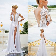 Long Sleeves Lace appliques Chiffon Wedding Dress 2015 See Through Plunging V Neck High Front Slit Backless Wedding Gowns bridal gowns