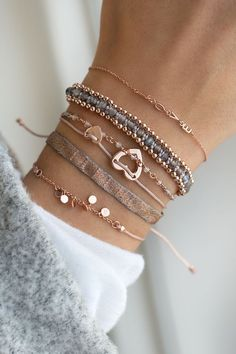 Set a statement and spread the love with subtle rose gold and lovely gems #jewellery #bracelets #rose #gemstones WWW.NEWONE-SHOP.COM