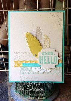 Fine Feathers Stamp Set, Silhouette Cameo Oh, Hello stamp set Kimberly Van Diepen, Stampin' Up!