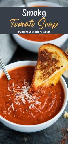Smoky Tomato Soup-the combination of fire roasted tomatoes, roasted red peppers, and smoked paprika kick the classic tomato soup up a notch. Serve with a grilled cheese sandwich for the perfect comforting meal! # Food and Drink meals Smoky Tomato Soup Roasted Tomato Soup, Tomato Soup Recipes, Fire Roasted Tomatoes, Kale Recipes, Roasted Red Peppers, Banana Recipes, Cooking Recipes, Grilled Peppers, Tomato Soup Recipe Using Tomato Paste