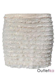Spódnica firmy Miso koloru kremowego.Posiada ozdobne elementy koloru złotego, które dodają niezwykłego uroku i oryginalności. Materiał cienki idealny na lato. Spódnica posiada falbanki. W pasie wszyta gumka. Wyprodukowana w Unii Europejskiej.