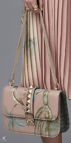 PRE-FALL 2016 Valentino blush pink with bird pattern, chain strap & stud embellished bag...x