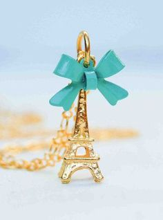 Eiffel Tower Necklace Paris Charm Golden France. I got this for Christmas!