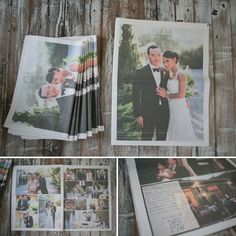 """Crazy.. Cute news papers as """"thank yous"""" for the guest later. With pics from the wedding. Like a memorabilia..."""