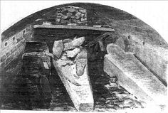 Sketch of the vault containing the coffins of Henry VIII (right), Charles I (left) and Jane Seymour (right) by Alfred Young Nutt, 1888 at George's Chapel, Windsor. The vault was opened in 1813 with the Prince Regent (later George IV) present.