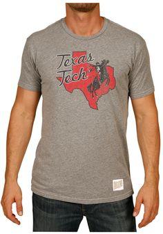 Texas Tech Red Raiders Retro Brand Mens Grey Masked Rider T-Shirt