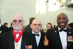 At the Marine Corps Heritage Foundation's 2016 Awards Ceremony, right to left, 18th Sergeant Major of the Marine Corps Ronald Green, BRAVO! Marine Michael O'Hara and BRAVO! Marine and co-producer Ken Rodgers. Photo courtesy of Daniel Folz. BRAVO! COMMON MEN, UNCOMMON VALOR @ https://bravotheproject.com/. #BRAVO! #USMC #MarineCorpsHeritageFoundation