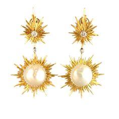 Diamond, South Sea pearl & gold drop earrings by Buccellati. Circa 1965s