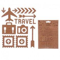 Autocollants en liège - Thème voyage (11 designs par paquet)