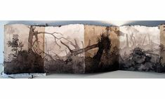 Catherine Nash 'Aftermath', Sumi ink wash, accordian folded hand made abaca paper with gold and silver leafedcover, linen cording. Open 9.5 in. X 7 ft. (Detail)