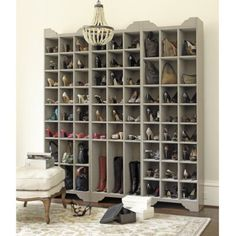 DIY: Ballard Designs Inspired Shoe Storage Plans - this is a great project, with detailed plans! A dream section of my dream walk-in closet! Shoe Storage Tower, Shoe Storage Plans, Shoe Storage Solutions, Boot Storage, Storage Ideas, Purse Storage, Creative Storage, Closet Storage, Wall Storage