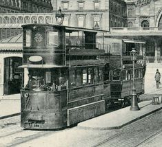 By 1887, trams powered by compressed air had arrived in Paris. Steam driven trams were introduced in the 1880's and 1890's but, by the end of the nineteenth-century, electrification of the trams was underway.