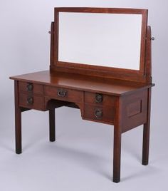 Vintage Solid Oak Arts & Crafts Dressing Table Drawers William