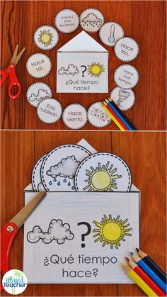 Spanish Weather Vocabulary Interactive Notebook. Play games or practice weather vocabulary with this hands-on resource for beginning/novice language learners.