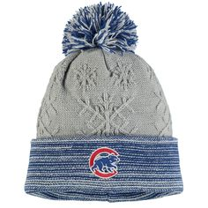 Women's Chicago Cubs New Era Gray Snow Crown Redux Cuffed Knit Hat With Pom