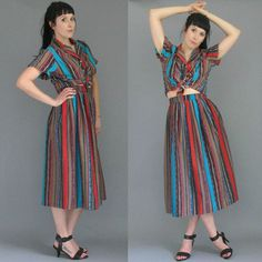 1980's TRIBAL Stripe 2 Piece Set Button Up S/S Blouse High Waisted Full Sweep Skirt M / L