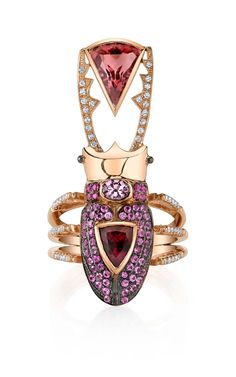 Daniela Villegas rose gold Flora ring with diamonds, pink sapphires and pink tourmalines.