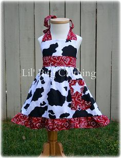 Western Wear Rodeo Dress Cow Print Red Bandana por LilBugsClothing