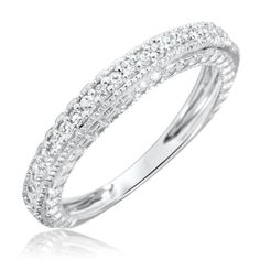 1/5 Carat T.W. Round Cut Diamond Women's Wedding Ring 14K White Gold- Size 7.5
