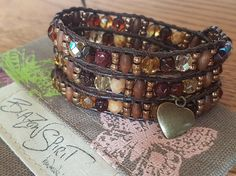 Beaded leather wrap bracelet wrap 6 inch wrist by BlazonSpirit Beaded Leather Wraps, Leather Cord, Beaded Bracelet Patterns, Beaded Bracelets, Bracelet Making, Heart Charm, Antique Gold, Spirit, Bohemian