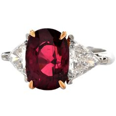 Ruby Diamond Platinum Ring | From a unique collection of vintage cocktail rings at https://www.1stdibs.com/jewelry/rings/cocktail-rings/