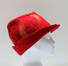 Red trilbystyle handmade wet felted hat by SueMannsHatsAndMore, £40.00
