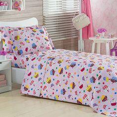 Colcha Infantil Estampada Cupcakes Rosa + Porta Travesseiro