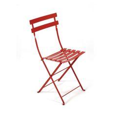 red outdoor cafe chair ; Gardenista