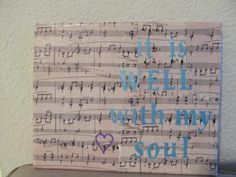 Wall Art Canvas Quote Sheet Music It Is Well by mycraftcabinet, $10.00
