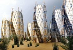 Vertical Bamboo Houses