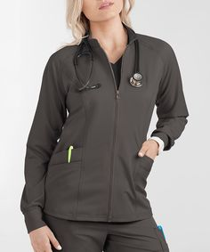 Who knew that keeping warm could look so cool! Shop for the Lauderdale by UA Dania Zip Long Sleeved Scrub Jacket only at Uniform Advantage. Uniform Advantage, Scrubs Uniform, Scrub Jackets, Scrub Pants, Scrub Tops, Princess Seam, Black And Navy, Keep Warm, Jacket Style