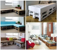 DIY sofa with wood pallettes... This would be real cute for a game room