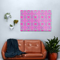 Cute Charming and Girly Psychedelic Pink and Green Boho Fabric Print Metal Print      #metal #wall #art #kaleidoscope #kaleidoscopic #Bohemian #pink #girly #mandala Copper Wall Art, Abstract Metal Wall Art, Abstract Canvas Art, Pink Wall Clocks, Pink Wall Art, Boho Green, Pink And Green, Pink Home Decor, Pink Throw Pillows