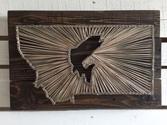 Montana Fish String Art: Pallet Wood, Dark Stain, Cream and Tan String