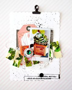 Scrapbook all your loose travel items together in a layout reflecting the chaos and fun of traveling; really play with color by adding embellishments that really make the vibrant colors pop