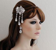 SALE Crystal Bridal Comb Wedding Art Deco Comb by EleganceByKate