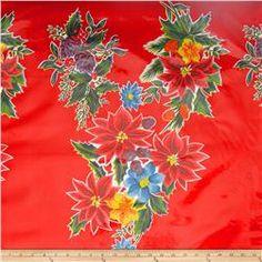 Oil Cloth Poinsettias Red