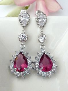 Last One Wedding Bridal Earrings Ruby Pink by JCBridalJewelry